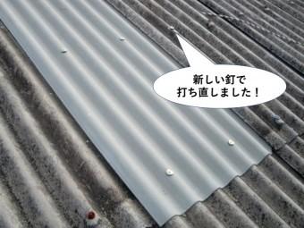和泉市の波型スレートを新しい釘で打ち直しました
