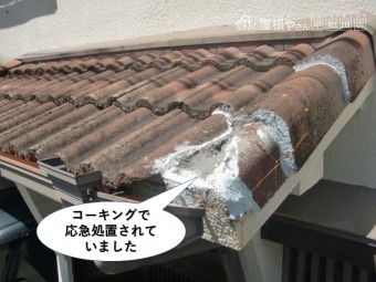 岸和田市の玄関庇をコーキングで屋根を応急処置