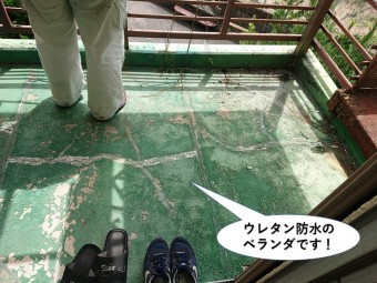 泉大津市のウレタン防水のベランダです