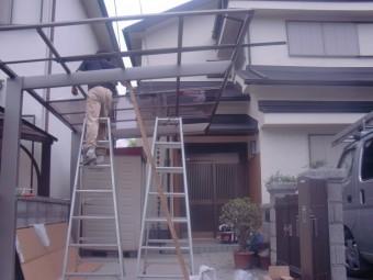岸和田市土生町のアルミ製のテラスのポリカ貼り