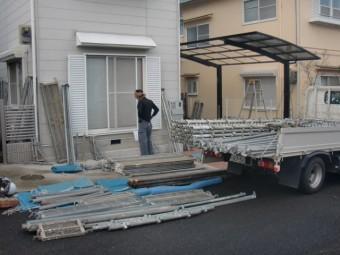 岸和田市下松町の塗装の足場設置