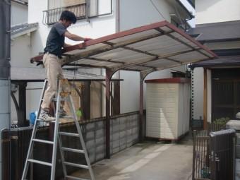 岸和田市土生町の鉄製のテラス屋根撤去中!
