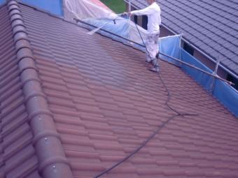 岸和田市西之内町のセメント瓦の高圧洗浄
