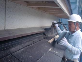 岸和田市土生町の既存の雨仕舞板金修理