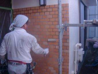 岸和田市土生町の玄関タイルのクリア塗装