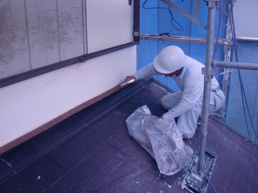 岸和田市土生町の既存の雨仕舞板金修理中