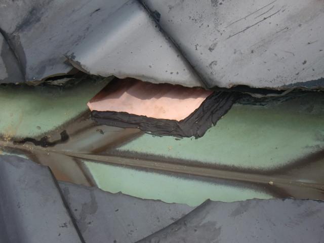 岸和田市西之内町で谷樋修理工事