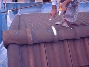 岸和田市西之内町のセメント瓦の屋根塗装