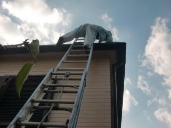 岸和田市上松町の雨漏り現地調査で屋根に上ります!