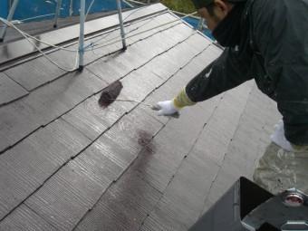 岸和田市天神山町の屋根の上塗り
