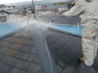 岸和田市尾生町の苔が生えた屋根高圧洗浄