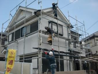 和歌山市善明寺の足場設置