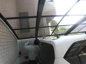 河内長野市のカーポートの屋根パネル採寸