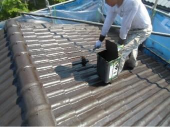 岸和田市天神山町の屋根を上塗り