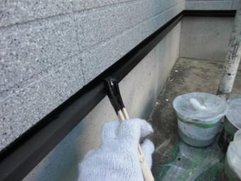 岸和田市三田町の土台水切り塗装
