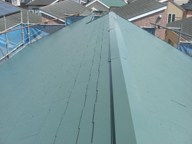 貝塚市半田の屋根上塗り完了