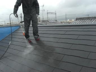 貝塚市のスレート屋根洗浄