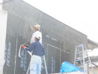 岸和田市上松町の外壁にモルタル施工