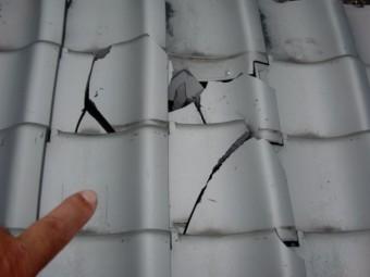 熊取町の台風被害に遭った屋根の状況