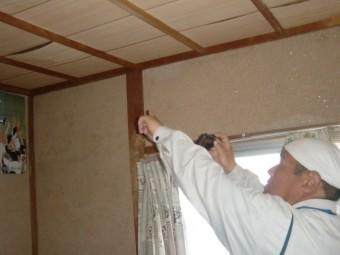 岸和田市の和室の天井の広範囲に雨漏り