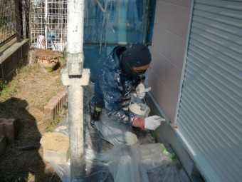 岸和田市下松町の土台水切り塗装