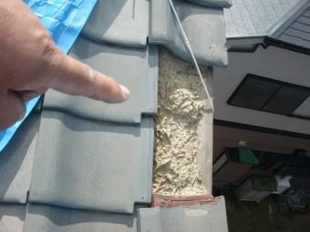 阪南市の屋根現調・袖瓦の飛散