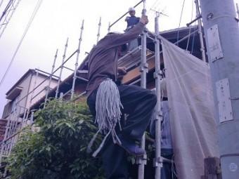 岸和田市春木本町の外壁塗装の足場着工