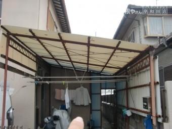 岸和田市のカーポートの波板張り替え前