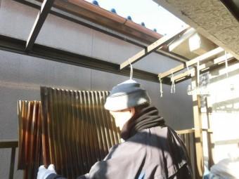 岸和田市北町の既存の波板撤去