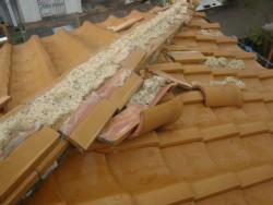 泉南市の台風で崩れた降り棟