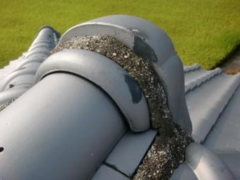 泉南市樽井の屋根の漆喰状況