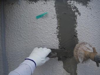 泉北郡忠岡町の塗膜の劣化部撤去しカチオンしごき塗り