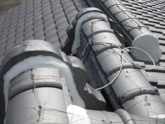 岸和田市の鬼瓦の取り合いの漆喰詰め直し完了