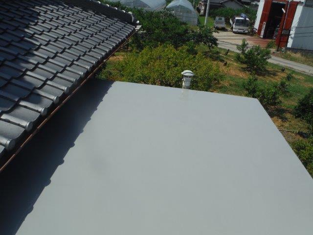 岸和田市包近町の陸屋根にトップコート塗布完了