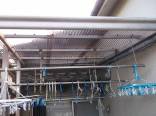 高石市千代田の二階ベランダのテラス波板張替え完了