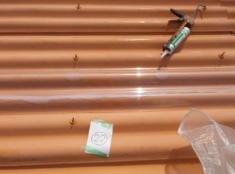 泉佐野市の工場の雨漏り修理2日目