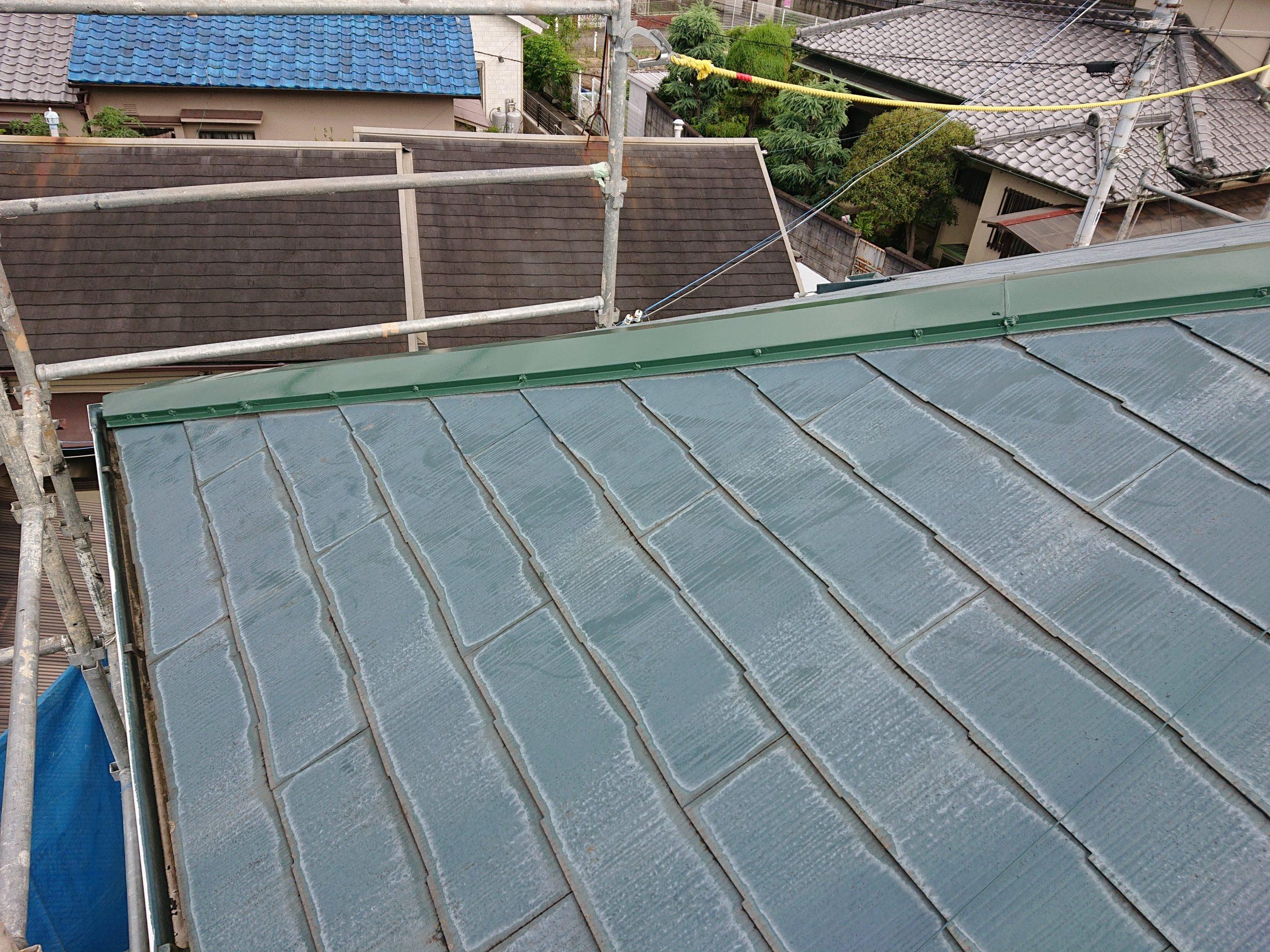 泉大津市の下り棟の板金を修理しました