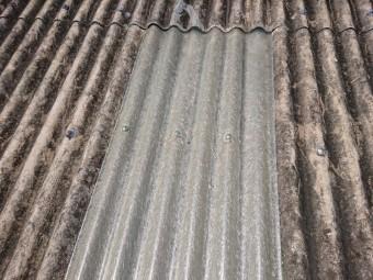 和泉市の倉庫の波型スレートの雨漏り修理