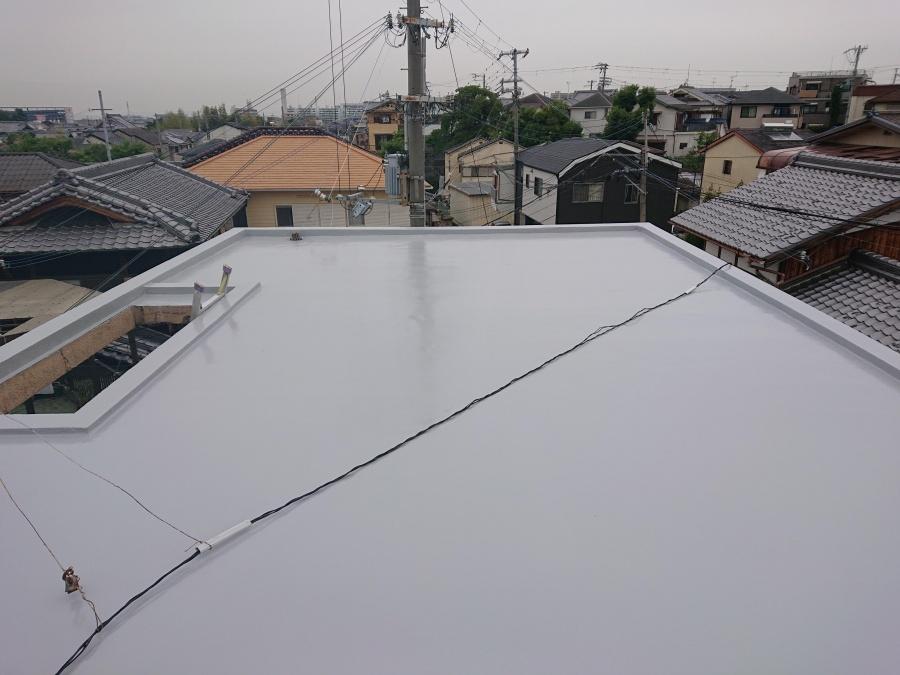 和泉市の防水後の陸屋根