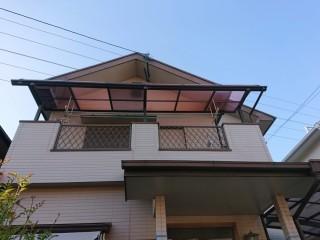 岸和田市のテラス屋根の平板を復旧