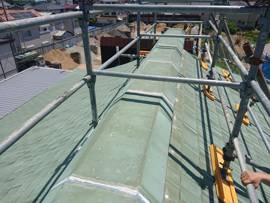 岸和田市の修理前の銅板屋根