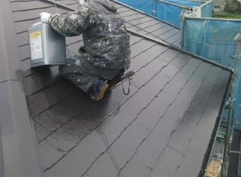 岸和田市尾生町のスレート屋根の上塗り