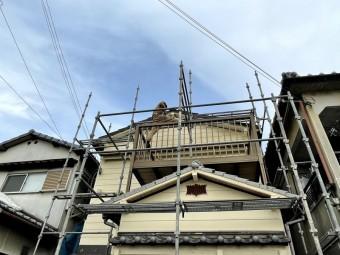 和泉市の屋根修理の足場解体