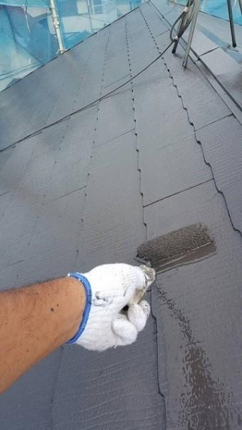 岸和田市摩湯町の屋根の上塗り