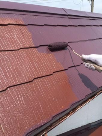 岸和田市摩湯町の屋根塗装上塗り