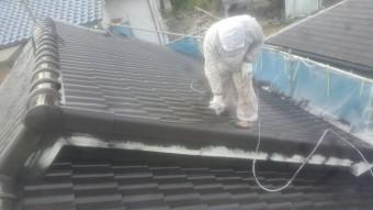 泉南郡岬町の屋根中塗り