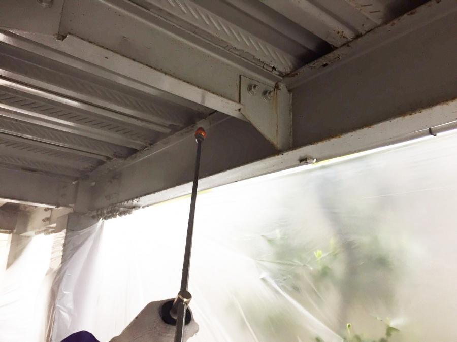 岸和田市春木の鉄部を高圧洗浄
