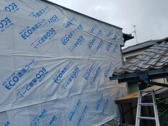 岸和田市上松町の外壁に防水シート施工