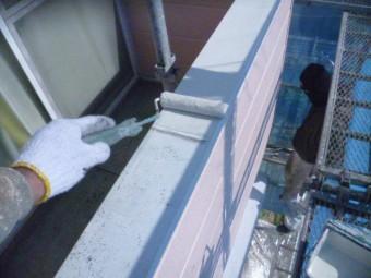 岸和田市下松町のベランダの手すり塗装