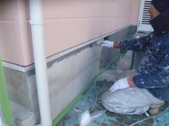 岸和田市下松町の基礎巾木塗装